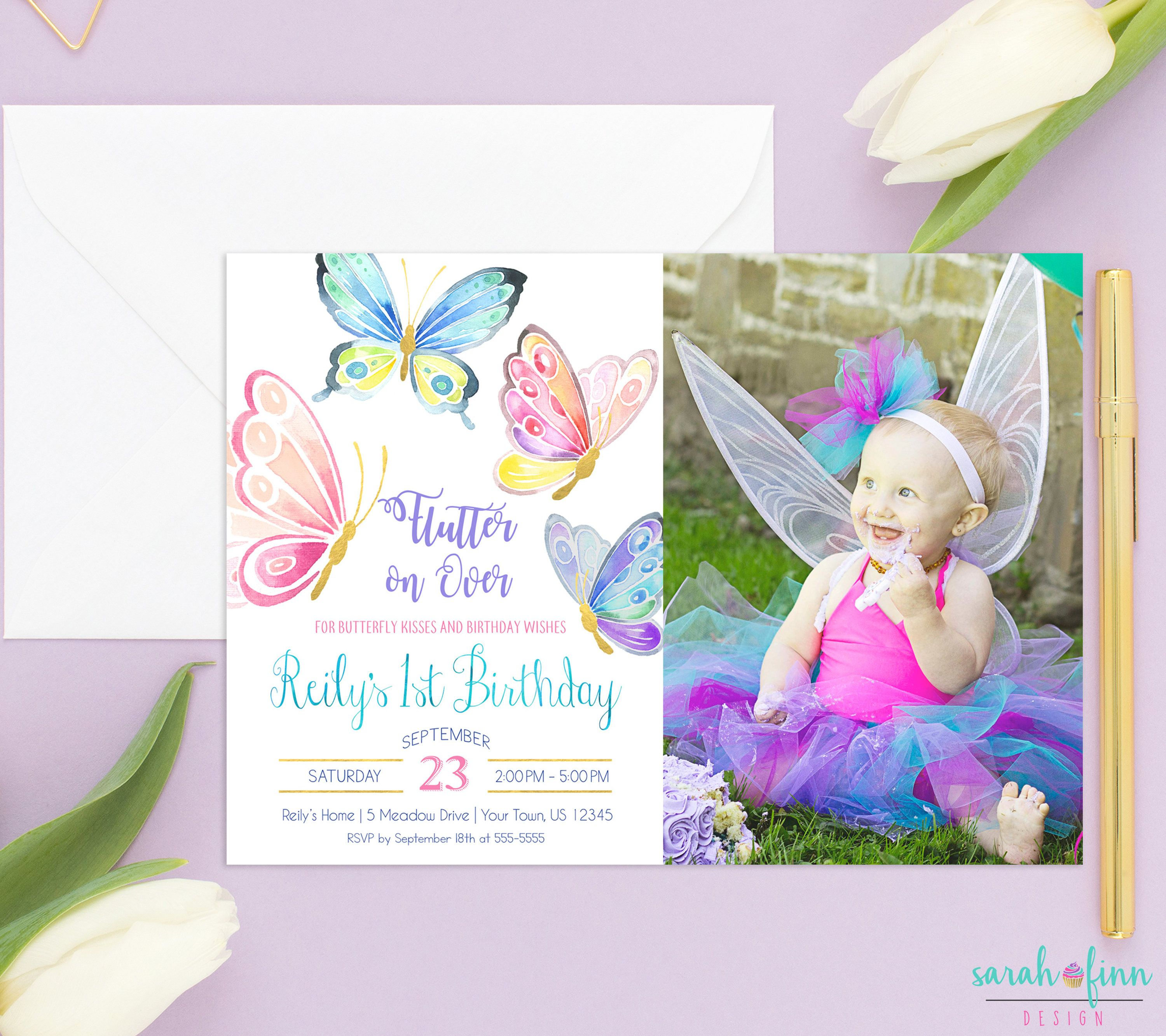1st birthday butterfly photo invitations ; 8bbae47a0bde8793c1f0d81a14be06a8
