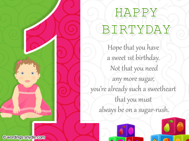 1st birthday girl message ; 1st-birthday-cards