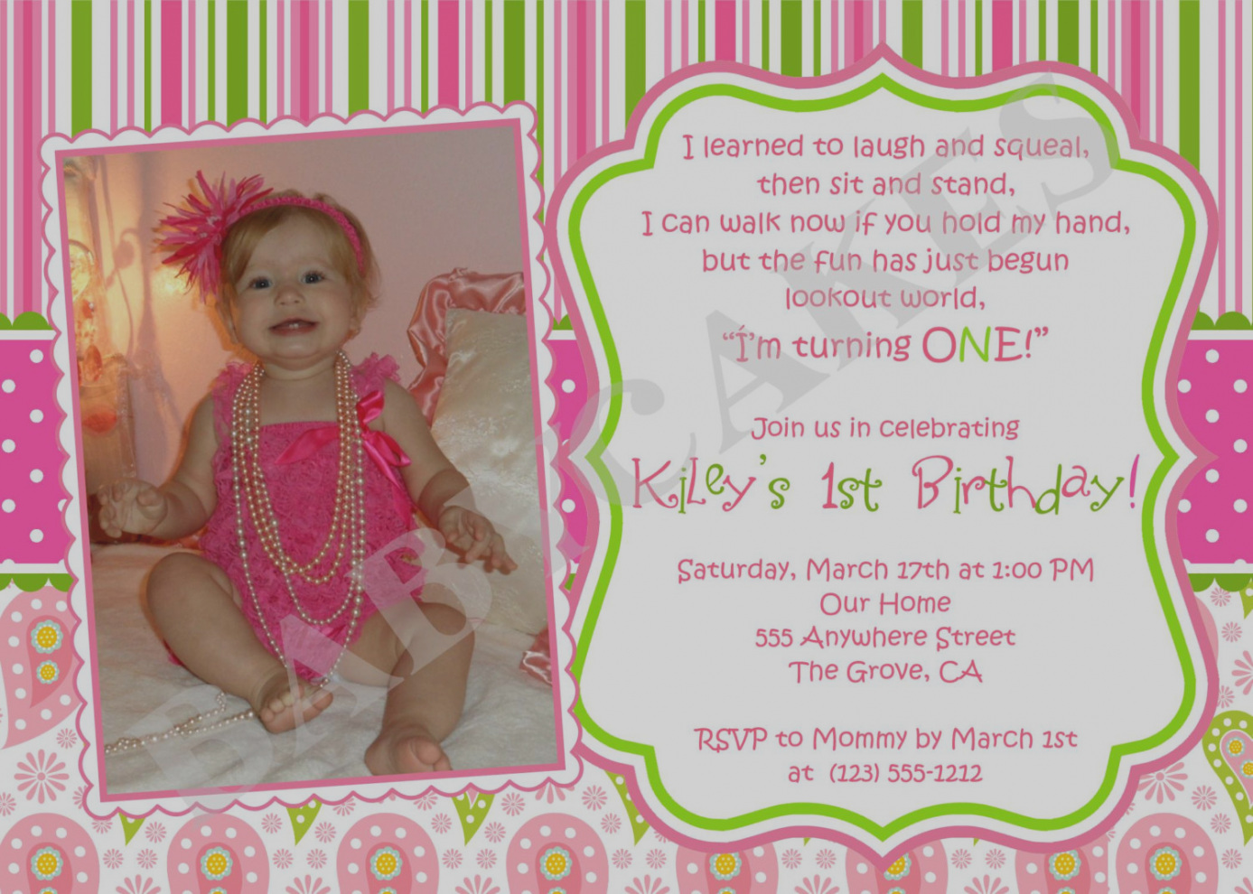 1st birthday girl message ; elegant-1st-birthday-invitation-message-for-baby-girl-first-messages-best-party-ideas