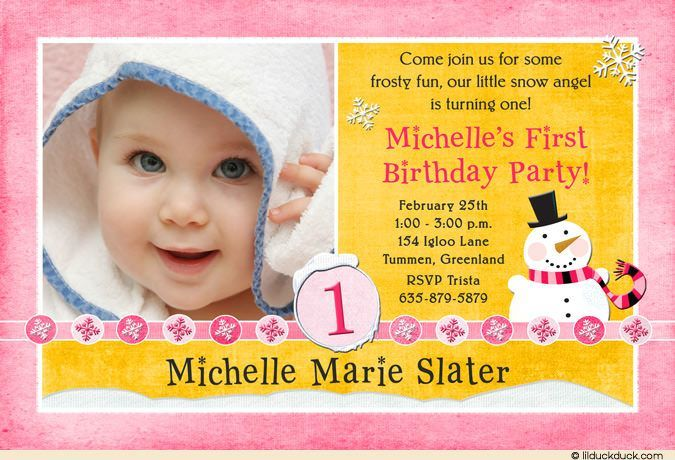 1st birthday girl message ; snow-angel-birthday-photo-invitation-y-pink-yellow-snowflakes_first-birthday-invitation-message-for-baby-on-st-birthday-invitations-announcements-zazzle-co-uk