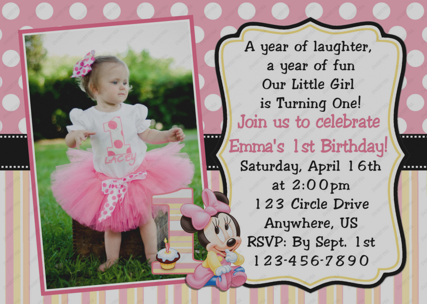 1st birthday girl message ; unique-of-1st-birthday-invitation-message-for-baby-girl-comely-minnie-mouse-first-invitations-additional