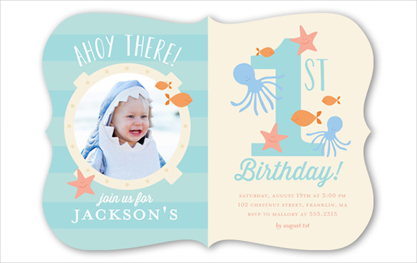 1st birthday invitation card ; Blue-and-pink-coloured-first-birthday-invitation