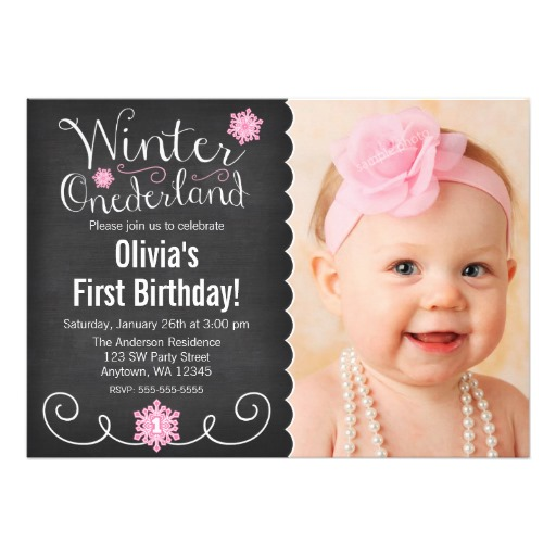 1st birthday invitation card ; invitation-card-for-1st-birthday-whimsical-winter-onederland-photo-first-birthday-invitation-card-templates
