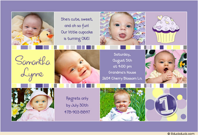 1st birthday invitation cards in telugu ; cupcake-photo-birthday-invitation-purple-lavender-yellow-gray