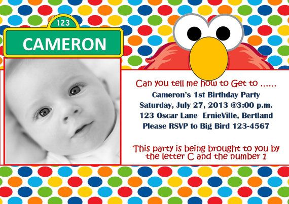 1st birthday invitation wording from parents ; sesame-first2