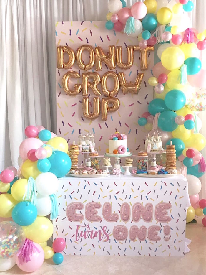 1st birthday party ; 22Donut22-Grow-Up-1st-Birthday-Party-via-Karas-Party-Ideas-KarasPartyIdeas