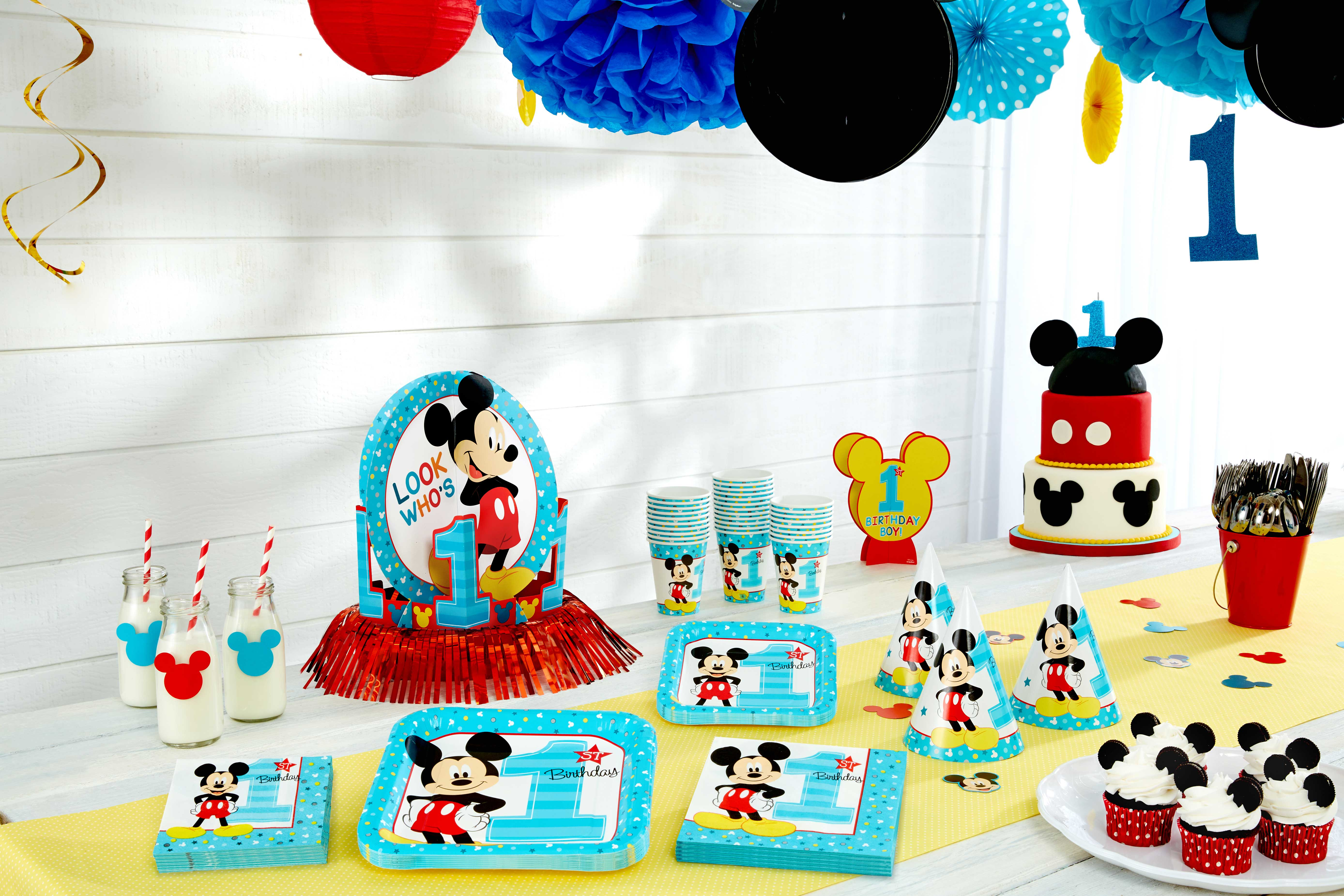 1st birthday party ; mickey-first-birthday-party-supplies-party-city