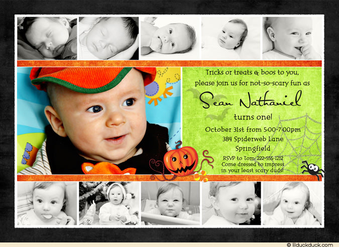 1st birthday picture collage ; 1st-birthday-photo-collage-halloween-1st-birthday-collage-card-little-pumpkin-boy-photos-templates