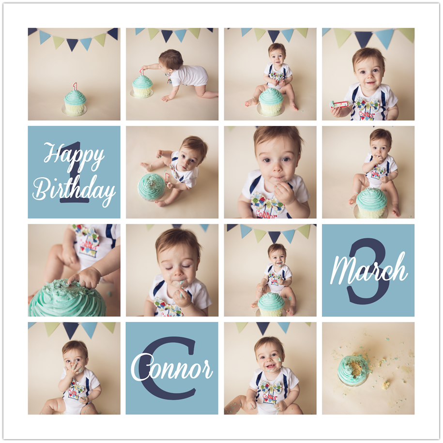 1st birthday picture collage ; Connor-Cake-Smash-First-Birthday-Collage-web