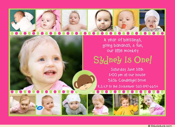 1st birthday picture collage ; mod-monkey-girl-pink-green-polka-collage-birthday