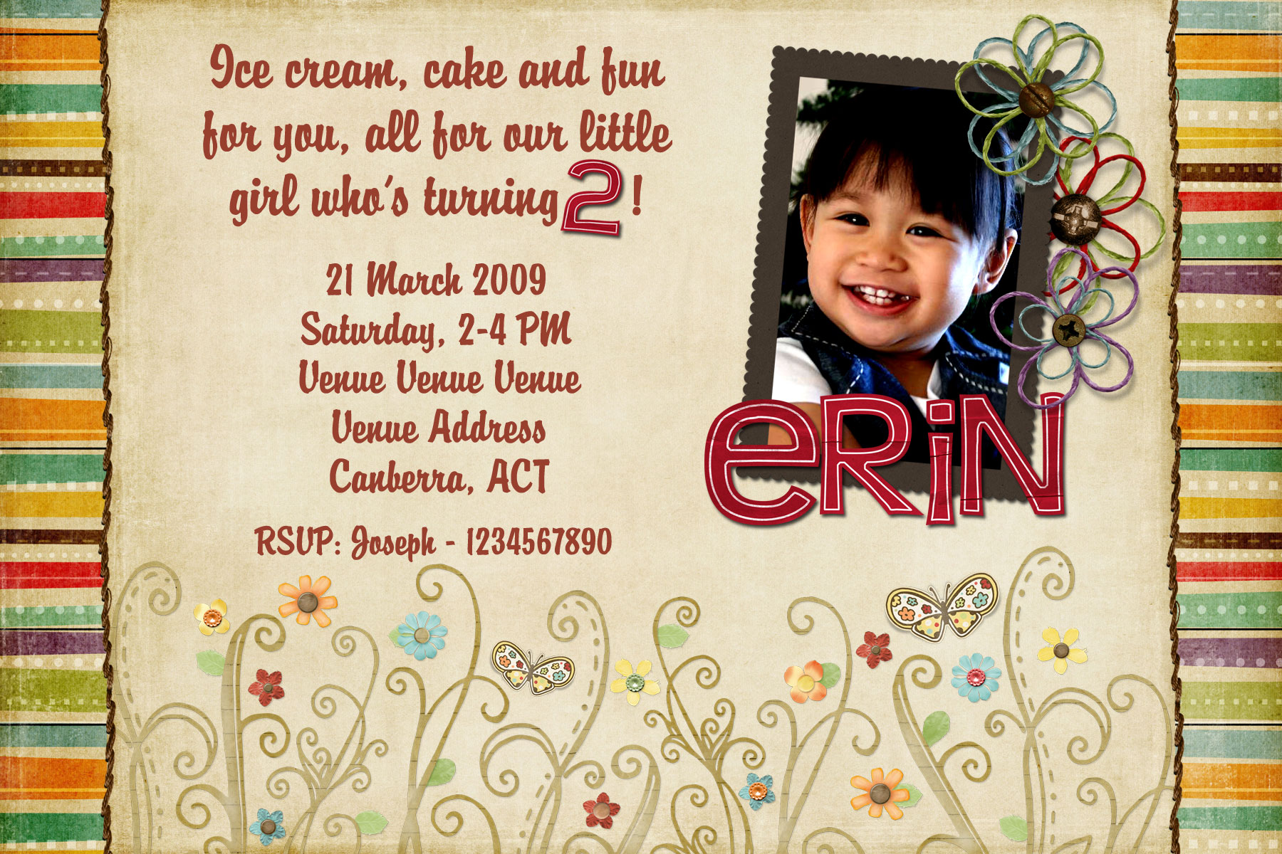2 year old birthday card printable ; Free-Printable-2-Year-Old-Birthday-Invitation-For-Girls