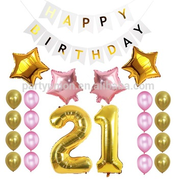 21st birthday banners and balloons ; 21st-birthday-party-balloon-decorations-Happy-Birthday