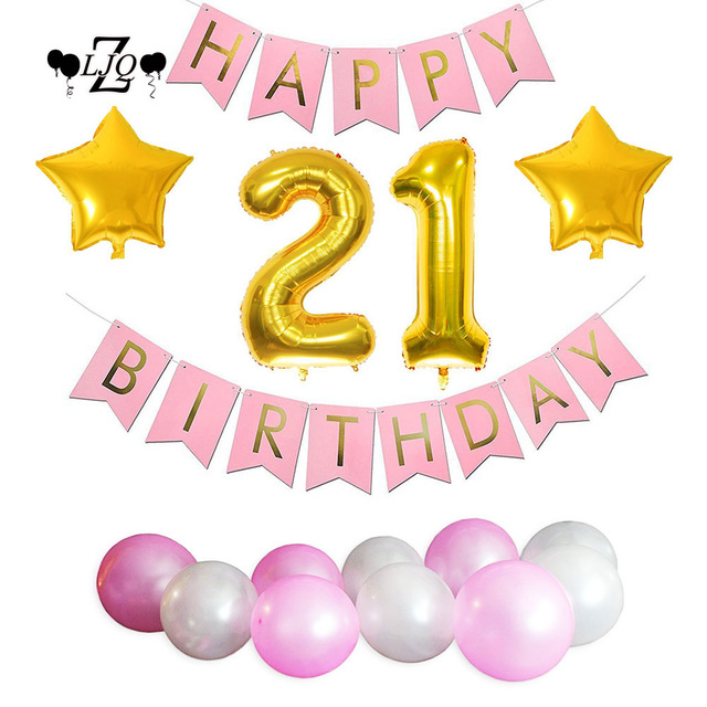 21st birthday banners and balloons ; ZLJQ-Girl-1st-2nd-3rd-10th-18th-21st-30th-Birthday-Decorations-Number-Balloon-Happy-Birthday-Banner