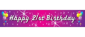 21st birthday banners and balloons ; balloons-pink-purple-300-21st