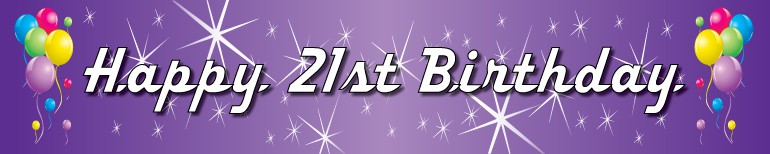 21st birthday banners and balloons ; balloons-purple-300-21st_1