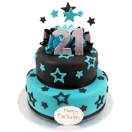 21st birthday cakes ; Stars-and-Bows-21st-Cake