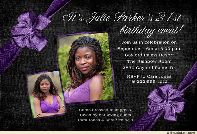 21st birthday invitation card ideas ; Formal-Birthday-Invitation-21st-purple-two-photo