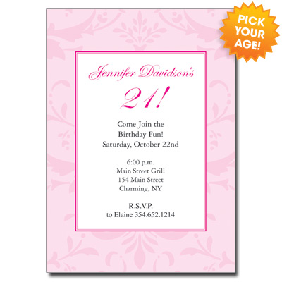 21st birthday invitation card ideas ; PrettyInPink21INthumb2