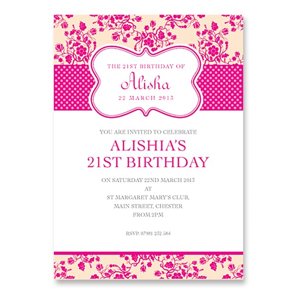 21st birthday invitation card ideas ; nvb108