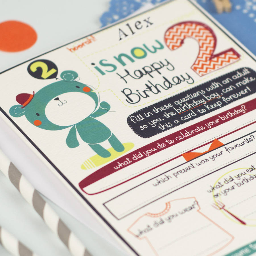 2nd birthday card ; original_personalised-boy-s-2nd-birthday-card