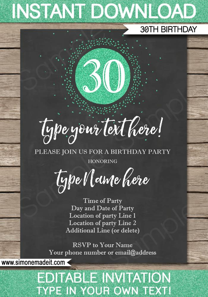 30th birthday invitation templates free download ; 30th-Birthday-Invitation-editable-and-printable-chalkboard-green-glitter-1