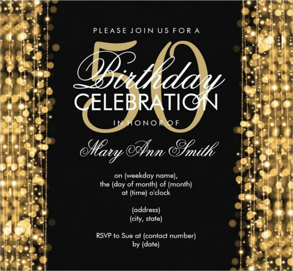 30th birthday invitation templates free download ; Gold-Sparkled-Elegant-50th-Birthday-Party-Invitation