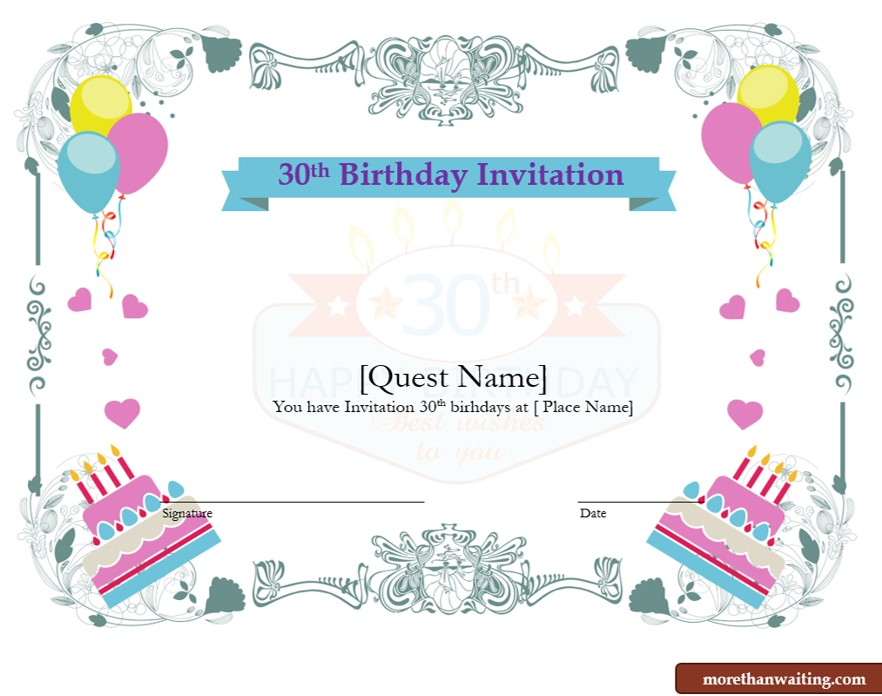 30th birthday invitation templates free download ; TR091