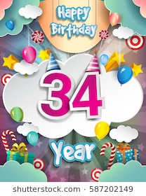 34th birthday card ; 34th-birthday-celebration-greeting-card-260nw-587202149