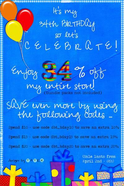 34th birthday card ; bday_sale