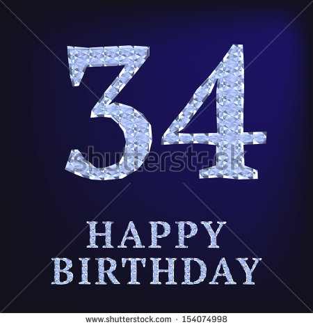 34th birthday card ; stock-photo--years-birthday-card-154074998