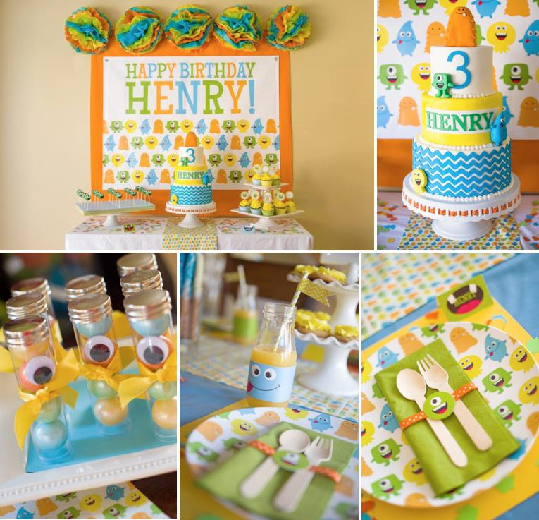 3rd birthday party ideas ; Friendly-Monster-Bash-Birthday-Party-via-Karas-Party-Ideas-www