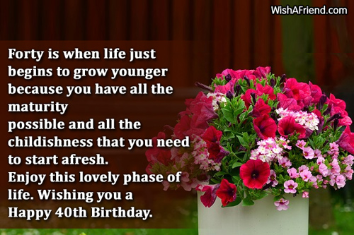40th birthday message for a special friend ; 1343-40th-birthday-wishes