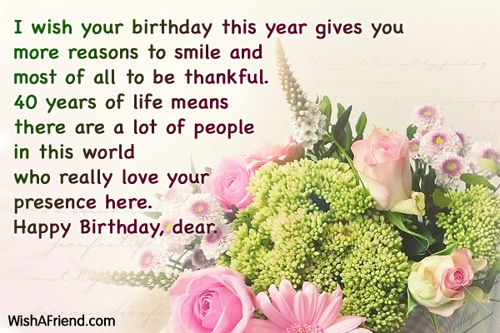 40th birthday message for a special friend ; 610-40th-birthday-wishes