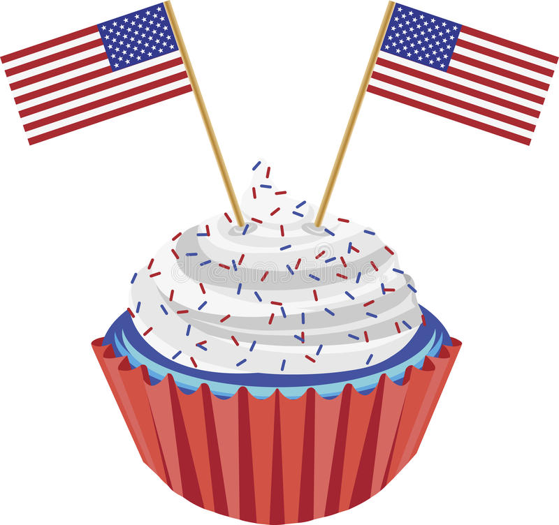 4th of july birthday clipart ; 4th-july-cupcake-flag-illustration-25098505