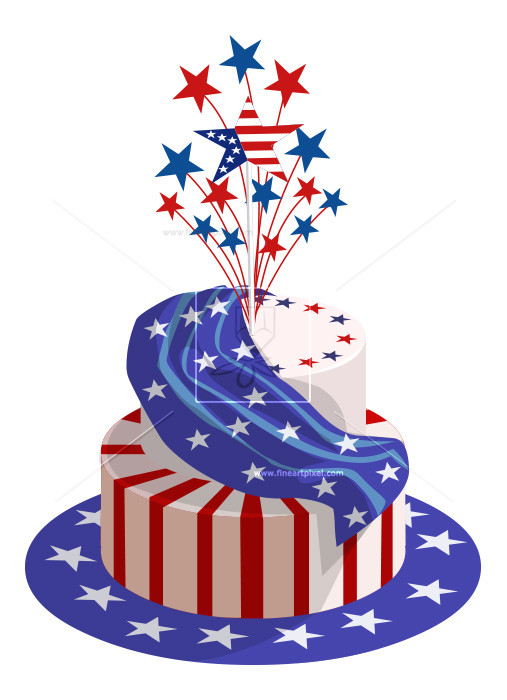 4th of july birthday clipart ; THUMB_July4thCake