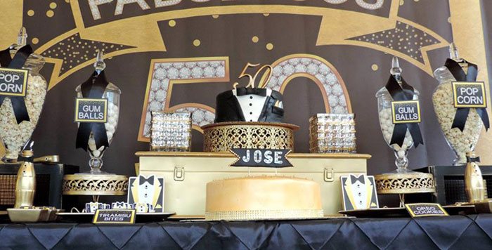 50th birthday party ideas ; Fabulous-50-Black-Gold-Birthday-Party-via-Karas-Party-Ideas-KarasPartyIdeas