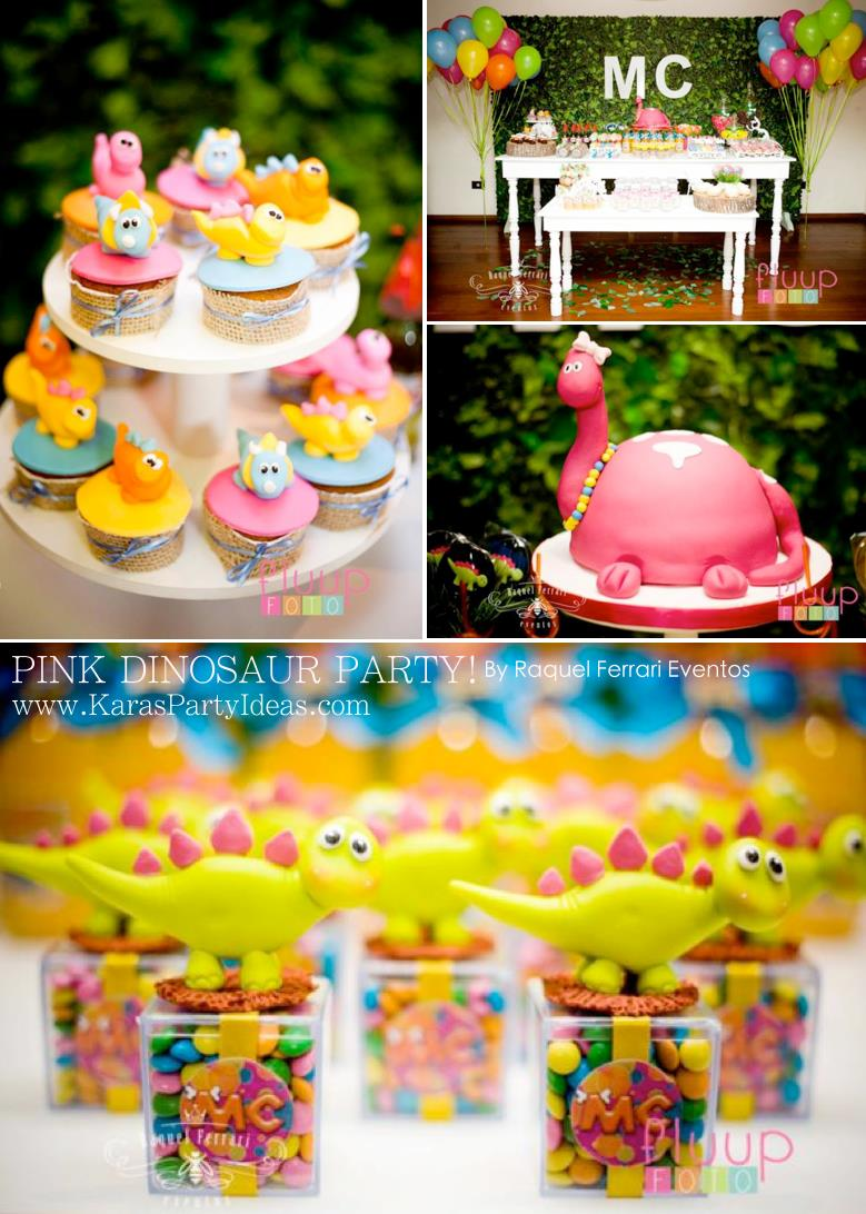 5th birthday themes ; Pink-Dinosaur-Birthday-Party-for-girls-via-Karas-Party-Ideas-KarasPartyIdeas