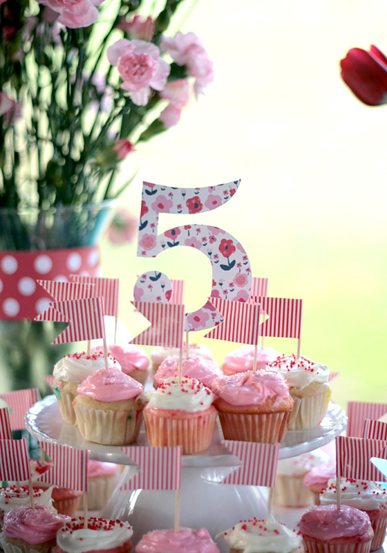 5th birthday themes ; small-shop-Erika-Brechtel-daughter-5th-birthday-party-afternoon-sweets-pink-navy-red-dessert-table-cupcake-tier-5-DIY-flag