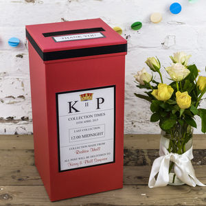 60th birthday card post box ; preview_personalised-red-royal-mail-wedding-post-box
