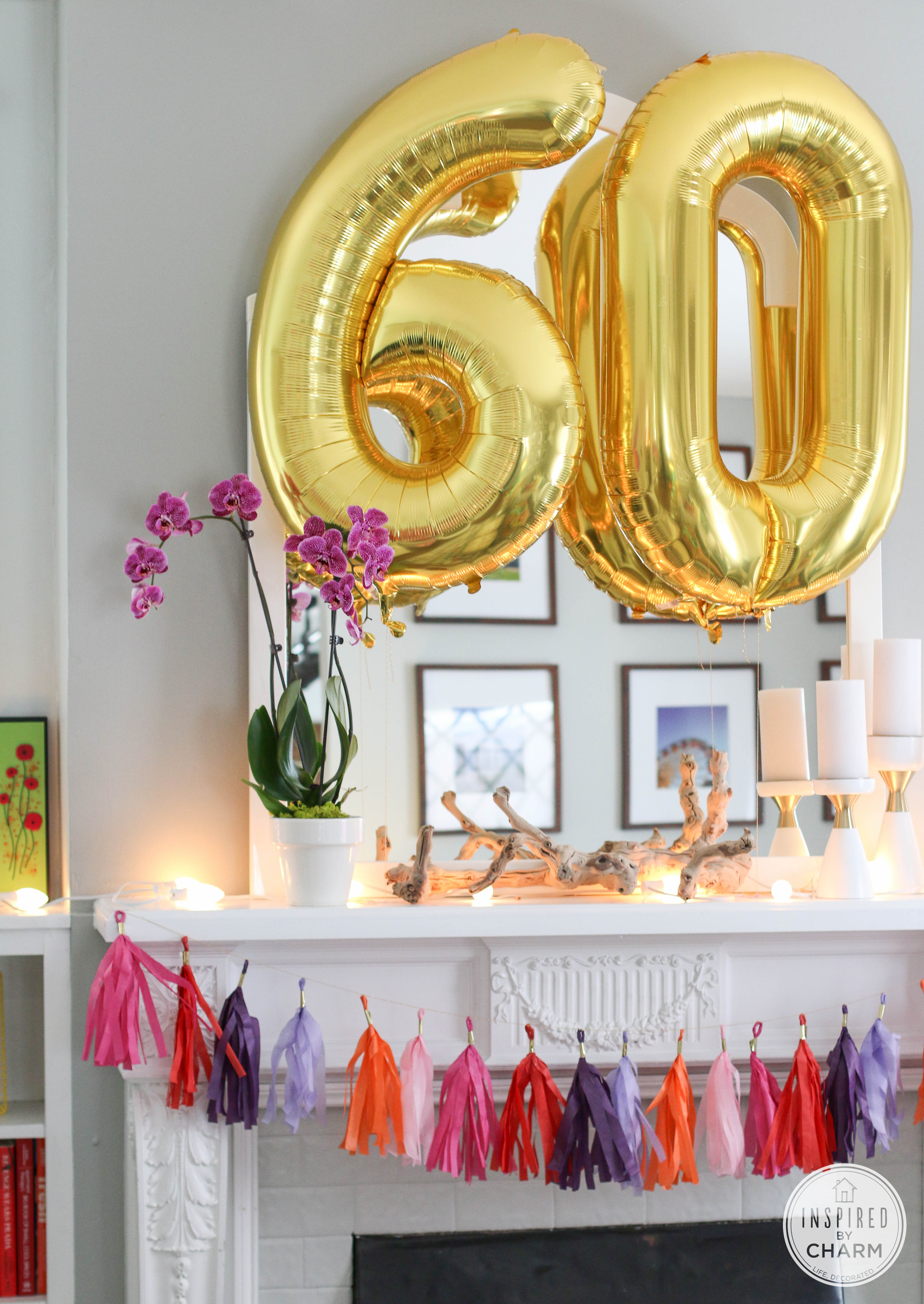 60th birthday color motif ; gold-number-balloons