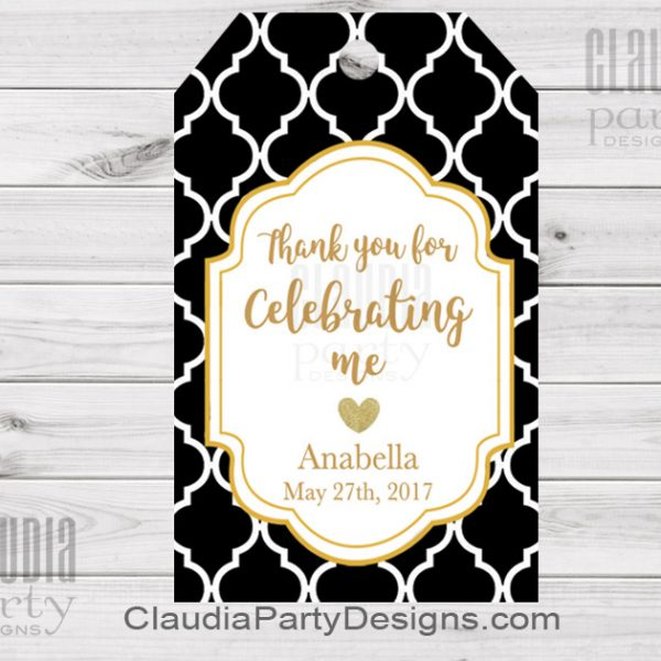 60th birthday favor tags ; black-gold-favor-tags-600x600