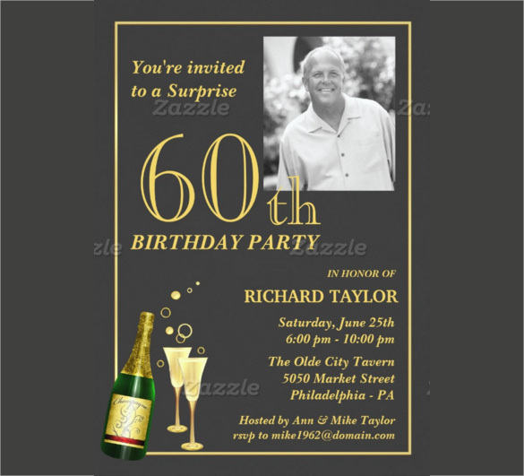 60th birthday invitation card templates free download ; Customized-60th-Birthday-Party-Invitation-with-Customizable-Photograph-