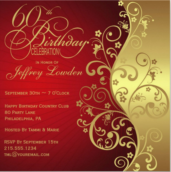 60th birthday invitation card templates free download ; Red-Gold-60th-Birthday-Party-Invitation