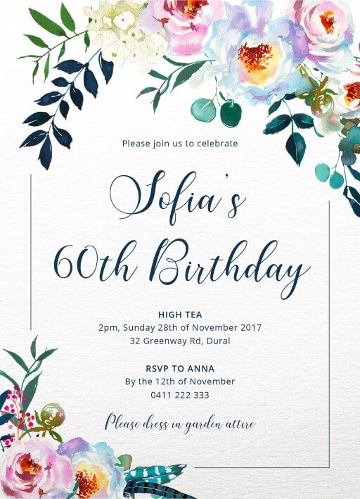 60th birthday invitation images ; floral60th