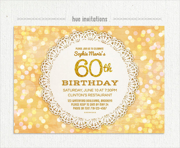 60th birthday invitation images ; lace-doily-gold-glitter-60th-birthday-invitation