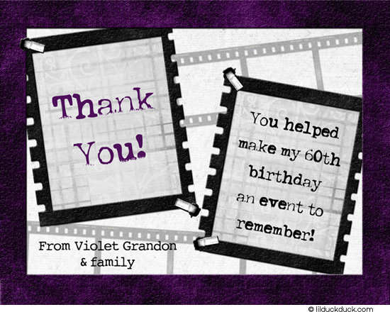 60th birthday wording for card ; modern-film-strip-adult-birthday-purple-thank-you-front