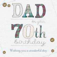 70th birthday message for dad ; 09349pc