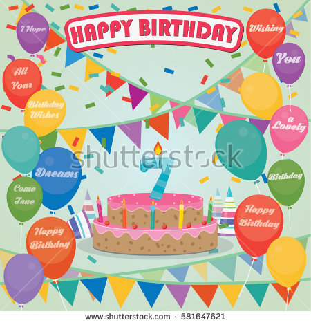 7th birthday background ; stock-vector--th-birthday-cake-and-decoration-background-in-flat-design-with-balloons-and-candles-581647621