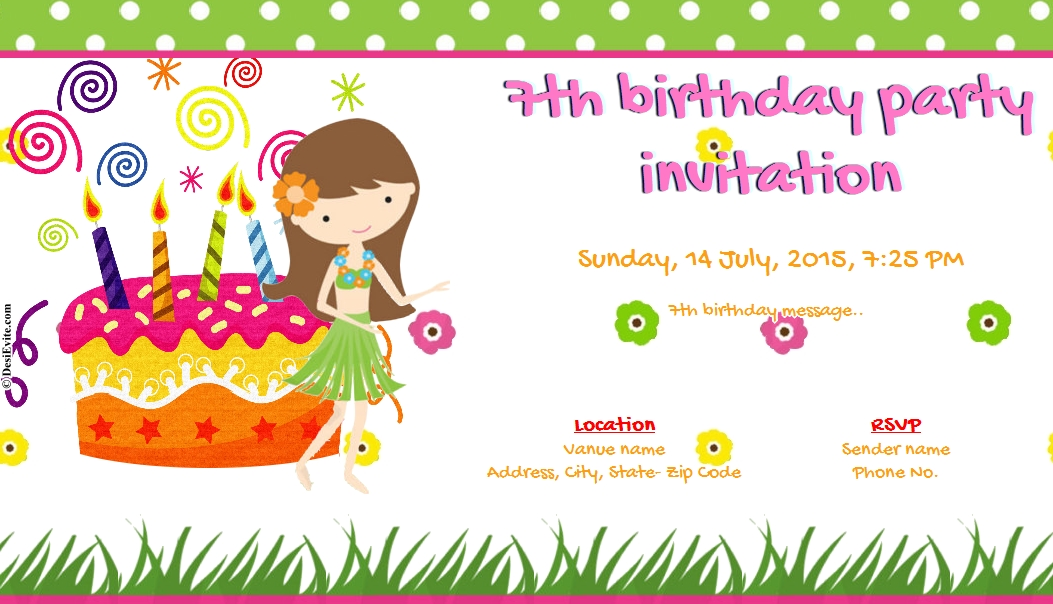7th birthday message for girl ; 7th-birthday-party-invitation-98
