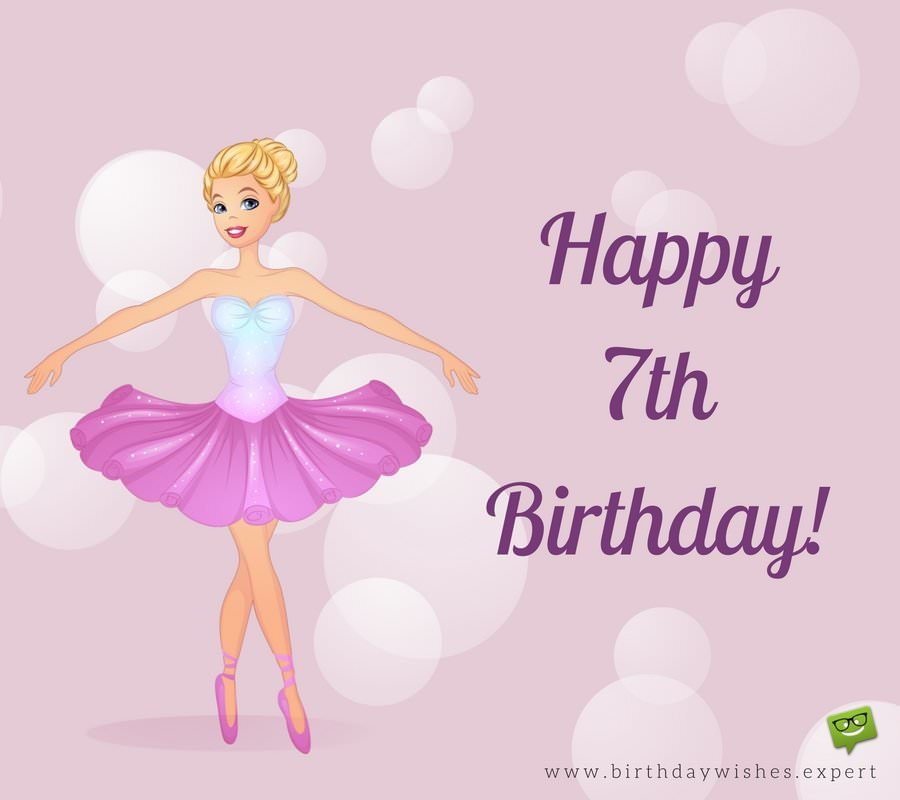 7th birthday message for girl ; Happy-7th-birthday-with-cute-ballerina